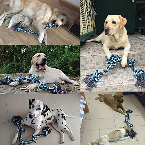 BLUEISLAND Aggressive Tough Chew Toys Dog 3 Knots Indestructible Rope Large Breed Dog Tug Cleaning