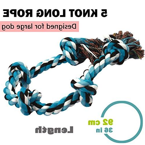 BLUEISLAND Rope Toys Aggressive Tough Rope Chew Dog Knots Indestructible Rope Large Breed War Toy Cleaning