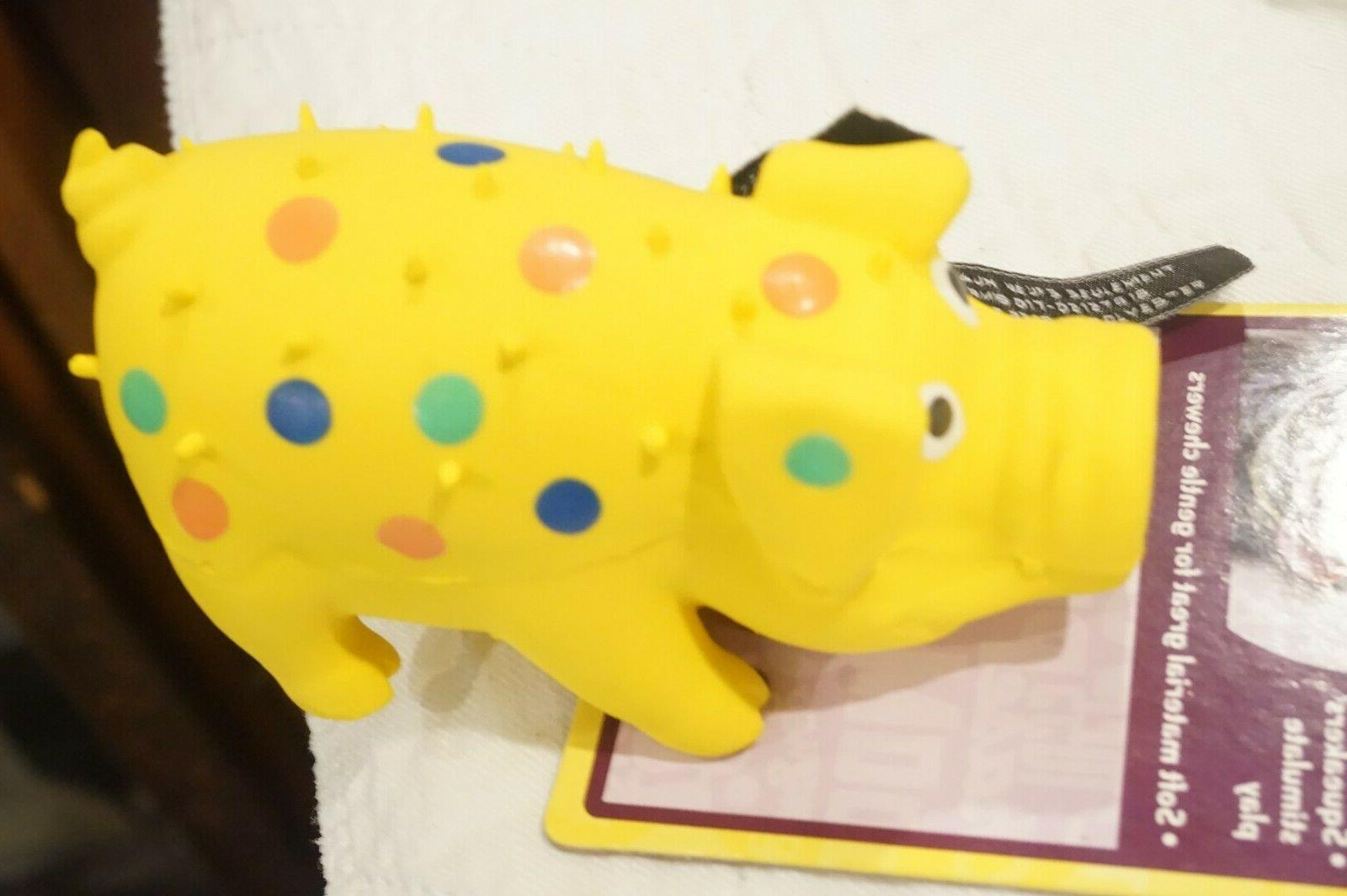 """MULTIPET DOG TOY DOG   GLOBKEN PIG LATEX     YELLOW  4""""  WIT"""