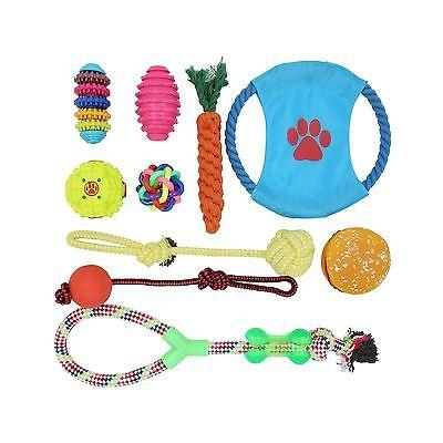 10 Pack Toy Set Rope Chew Squeaky Small M...