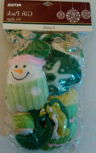 Petco dog toys gift 6 pack Christmas snowman green squeaky t