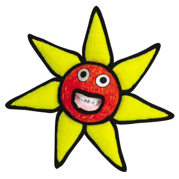 TUFFY Dog Toys - Large Alien Ball FLOWER / SUN in Red ~ Dura