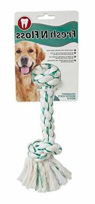 Fresh-N-Floss Two Knot Bone Dog Toy with Spearmint Flavor Si