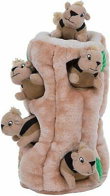 hide a squirrel squeaky puzzle plush dog