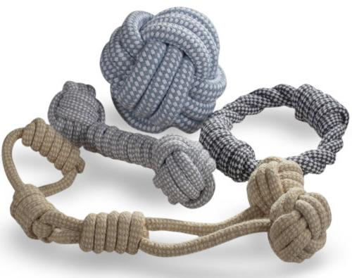 knitted dog rope toy braided cotton chew
