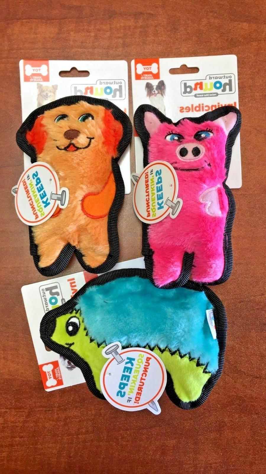Lot of 3 INVINCIBLES Squeaker Dog Toys by Outward Hound NEW