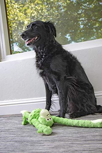goDog Tugs with Plush Dog Toy, Green, Large