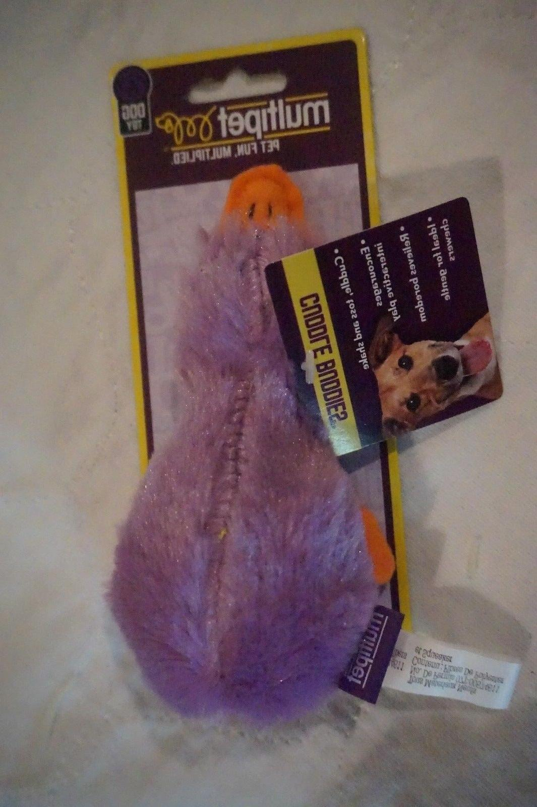 """NWT MULTIPET DOG TOY DUCK   DUCKWORTH WITH SQUEAKER 4""""  PURP"""