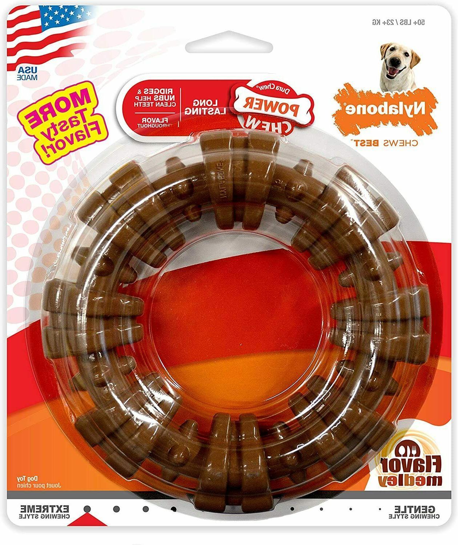 nylabone durachew textured ring flavor medley dog