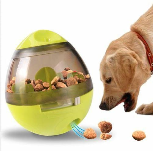pet dog interactive tumbler food dispenser feeder