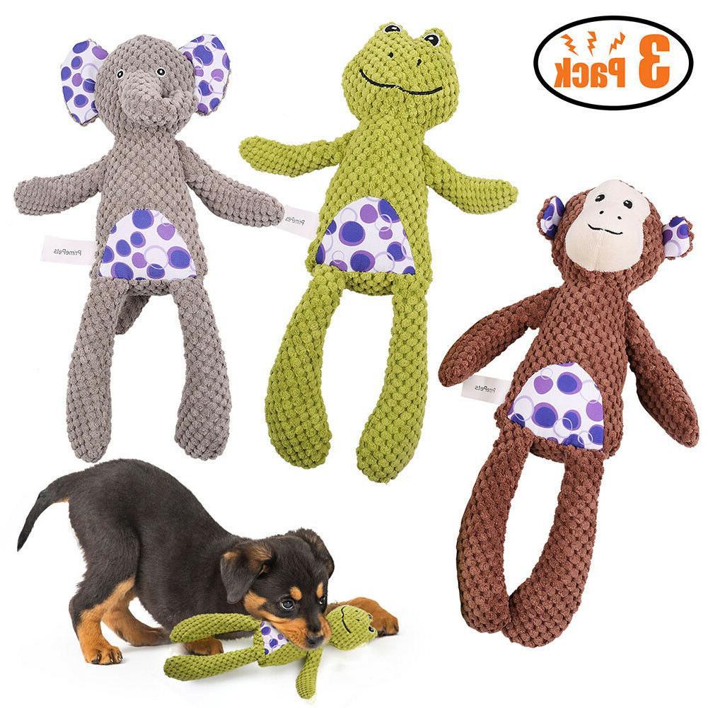 4 pcs dog squeaky toys durable plush