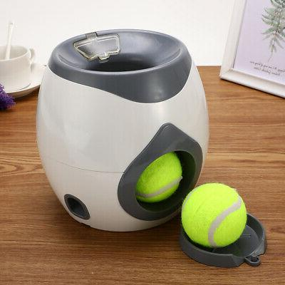 Pet Dog Toys Automatic Tennis Ball Launcher Food Dispenser F