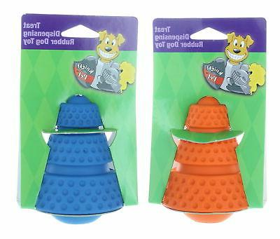 Set of 2 Pet Treat Dispensing Rubber Dog Toy Assorted Colors