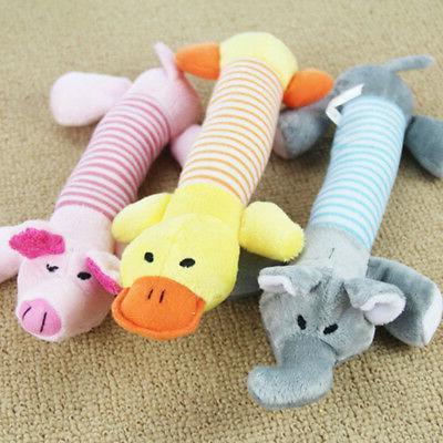 US Pet Dog Cat Squeaky Quack Sound Toy Playmates Plush Teeth
