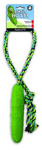 Pet Qwerks Pickle Fetch 'n Tug Rope Dog Toy, SQUEAKS and Flo