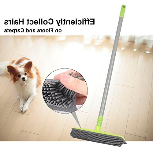 LandHope Push Broom Long Handle Rubber Bristles Squeegee inches Non for Hair