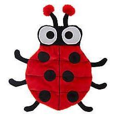 TOP PAW Red & Black Ladybug Plush, Squeaker Mat Dog Toy