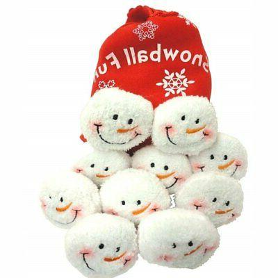 Snowball Fight, 10 Plush Snowmen Balls in a Red Bag, Snowbal