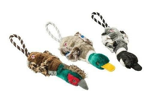 Stretch Ducks Dog Toys & Rope Double Squeaker Birds 18""
