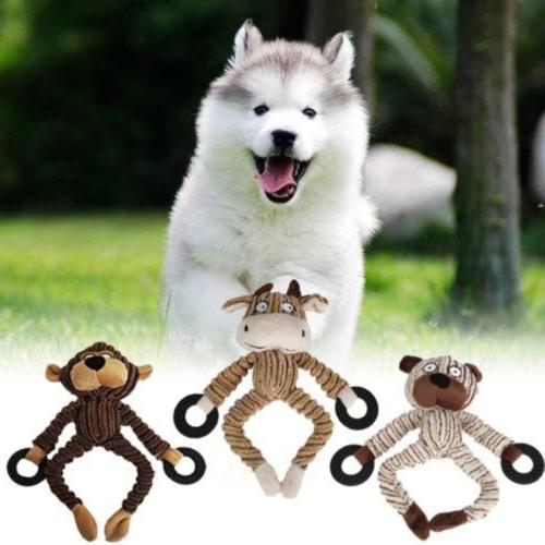 unstuffed plush dog puppy pet squeaker toys