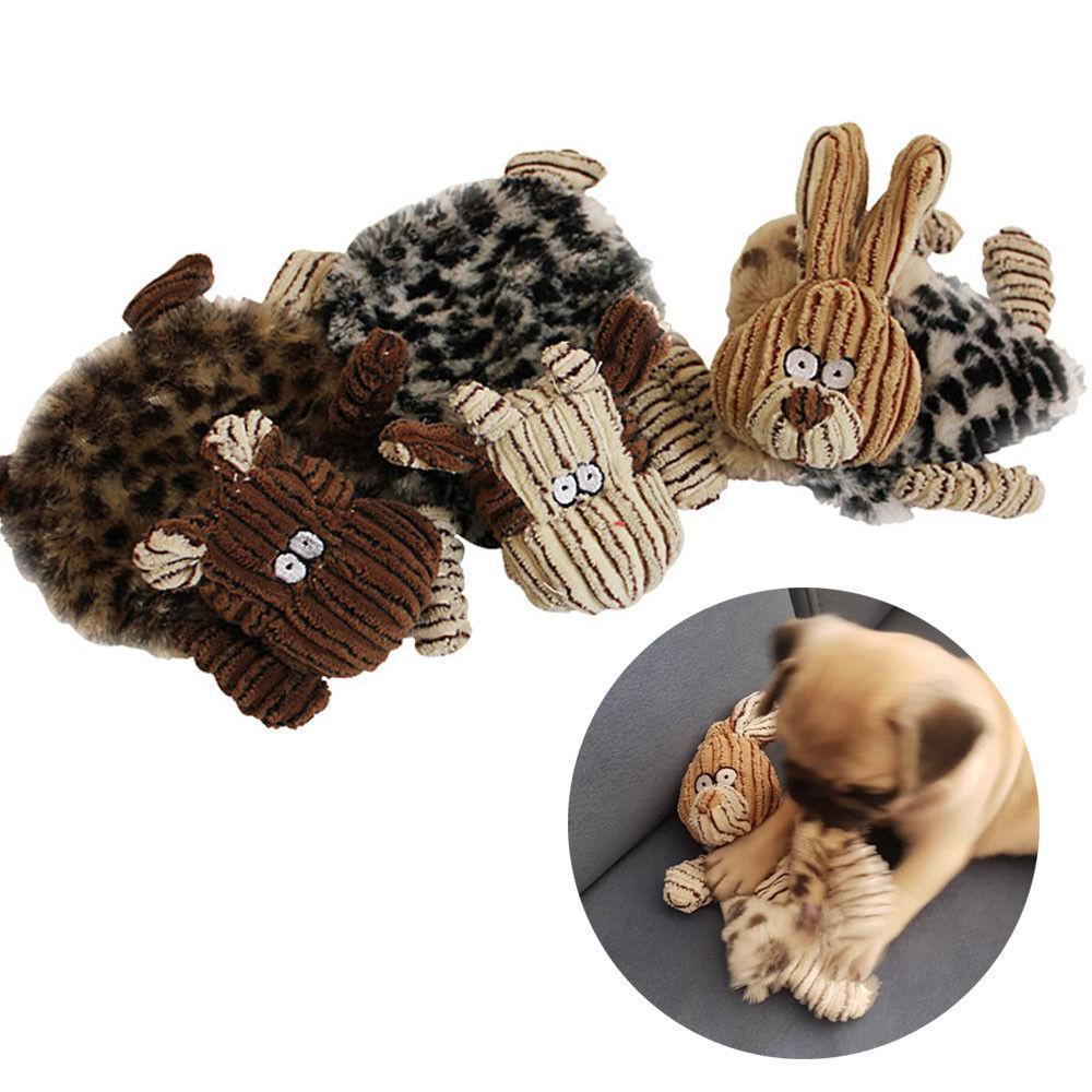 unstuffed plush dog puppy pet toys squeaker