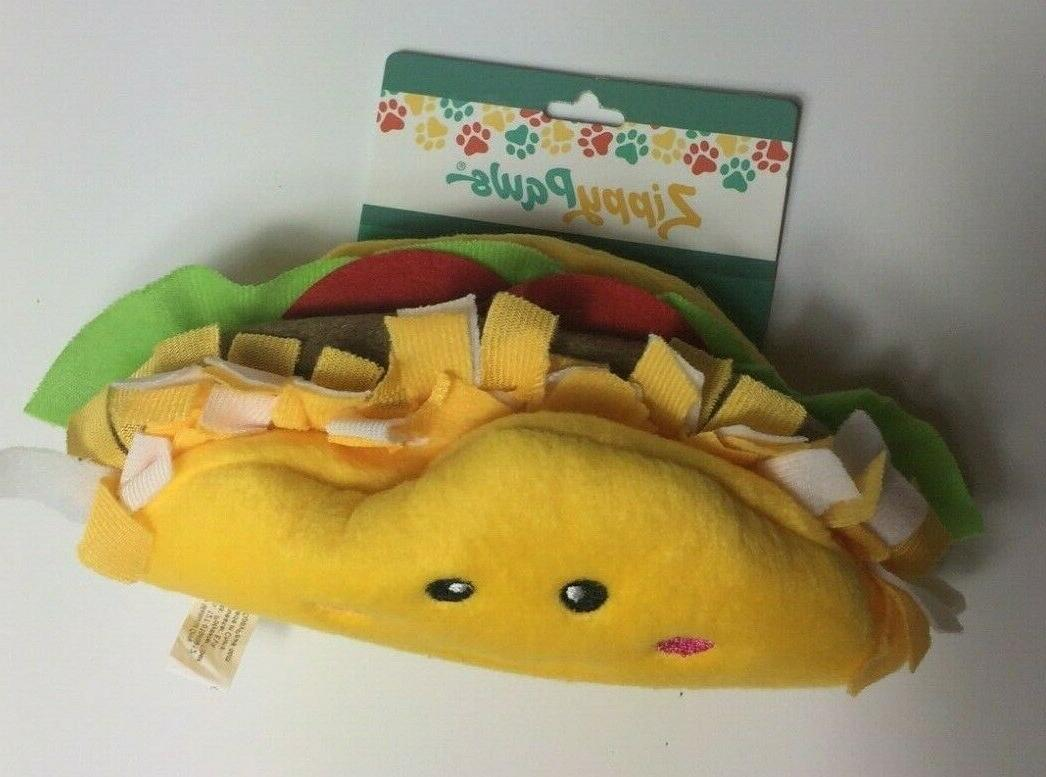 Zippy NomNomz Plush Squeaker Dog Taco Stuffed Toy For The Foodie
