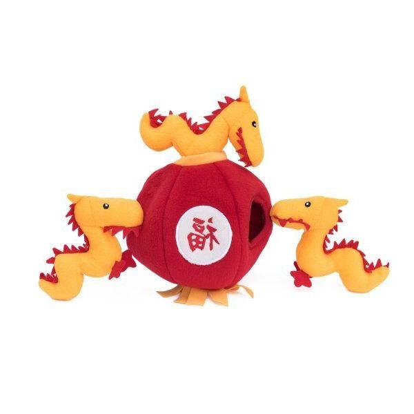 zippypaws burrow dog toy chinese dragon lantern