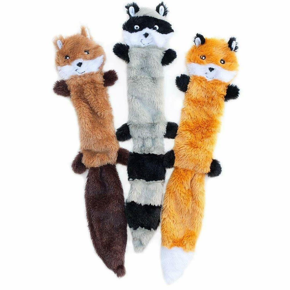 ZippyPaws No Squeaky Plush Dog Toy, Fox Squirrel