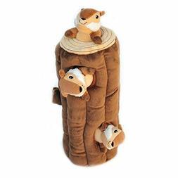 Large Cylinder Style Brown Forest Log Plush Chipmunk Squeek