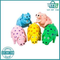 Latex Polka Dot Globlet Pig Dog Toy Assorted Colors 9-Inch N