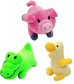 Li'l Pals Interactive Plush Small Size Squeaker Toy 3 Shape