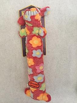 """Loofa Swirl Dog Toy 12"""" Long Colorful Pattern Soft Plush Squ"""