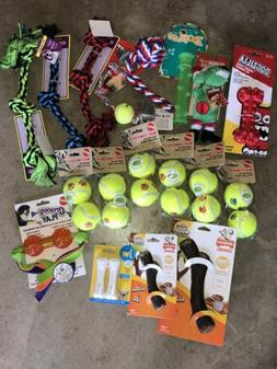 Lot of 18 Dog Toys - Ropes Balls Chews & a Squeaky - NEW