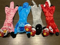 Lot of 4 No Stuffing Dog Toys with Squeakers Durable Stuffle