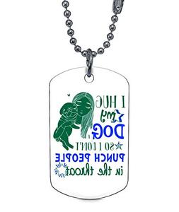 DLAWNECK Lovely Dogs Necklaces, I Hug My Dogs Dog Tag