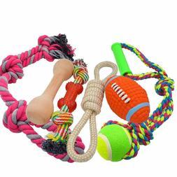 Medium Large Rope Dog Toys 6 Pack Set, 4 Sturdy Rope Toy wit