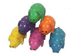 MultiPet Goblets Pig latex Dog toy Assorted Colors