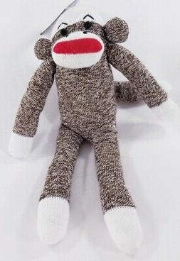 Multipet Sock Monkey Sock Pals squeaker dog toy toys puppy B