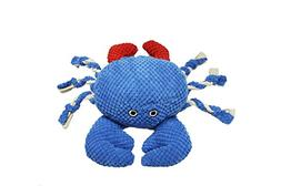 Patchwork Pet Nautical 8-Inch Crab Dog Chew Toy with Rope Le