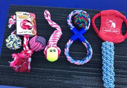 New! Set Of 8 Dog Toys For Large Dogs & Chewers! Ropes And B