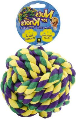 """Multipet Nuts for Knots 4 KNOT COTTON BALL Dog Toy MEDIUM 4"""""""