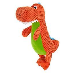 TOP PAW Orange Dinosaur Plush Squeaker Dog Toy