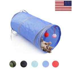 Pet Cat Tunnel Toys Rabbit Pop Up Tube Collapsible 2 Way Pup