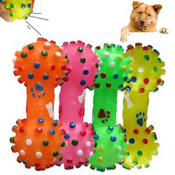 Pet Chew Toy Soft Small Rubber Bone Squeaky Toys Colorful Do