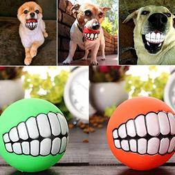 sholdnut Pet Dog Ball Teeth Toy Chew Squeaker Squeaky Sound