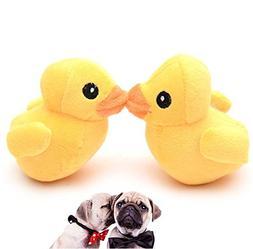 Stock Show 2Pcs Pet Dog Squeak Toys Plush Small Yellow Duck