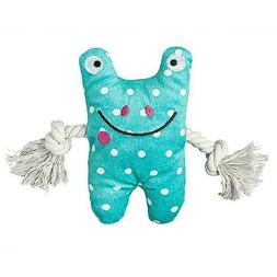 """Patchwork Pet Frog Greybar, 6"""" Plush, Rope Squeaker Dog To"""