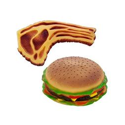 Bulk Buys Pet Play Squeaky Hamburger And Steak Dog Toy Pack