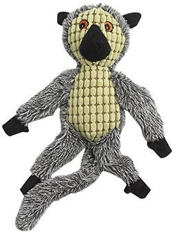 """PetRageous Hangrageous Leo The Lemur Dog Toy, 17"""", Gray/Lime"""