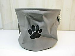Pet Toy and Accessory Storage Bin DII Gray Paw Medium Round